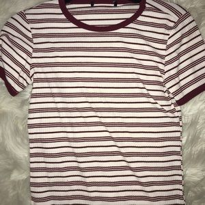 maroon & white striped shirt